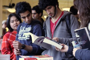 Students at the booksale table