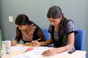 Kusum and Neetu (from PPES) writing the exam