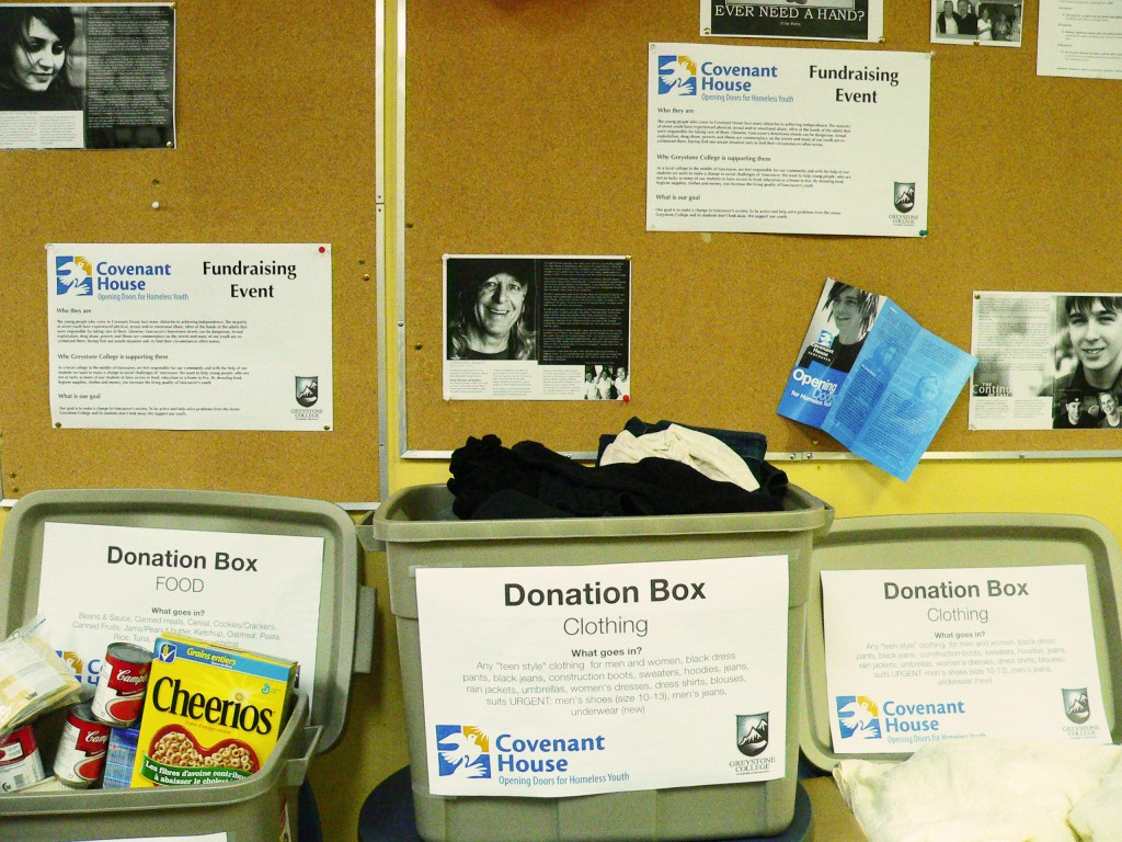 Donation boxes for Covenant House at Greystone College