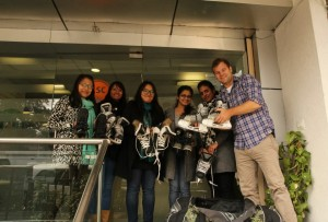 Showing off some of the hockey equipment collected for Ladakh