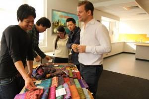 Jason, ILSC-Sydney's school director, buys some Fair Trade goods