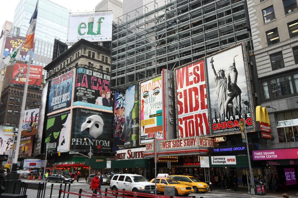 Broadway Musical Billboards in Times Square. Photo credit, Flickr user -JvL-