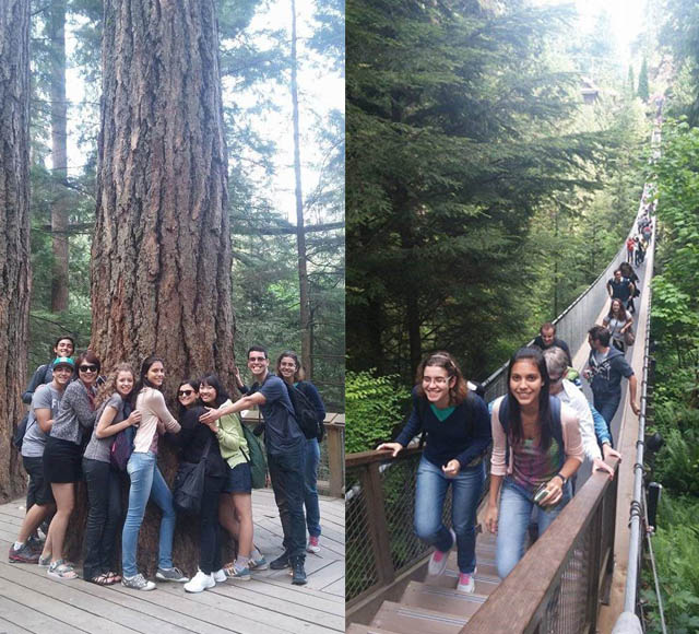 The Juniors walking along Capilano Suspension Bridge
