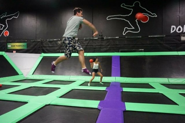 Dodgeball on trampolines, now that's something to cross off your bucket list!