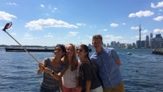 The Juniors posing at Toronto's beautiful waterfront (with a selfie stick, of course)