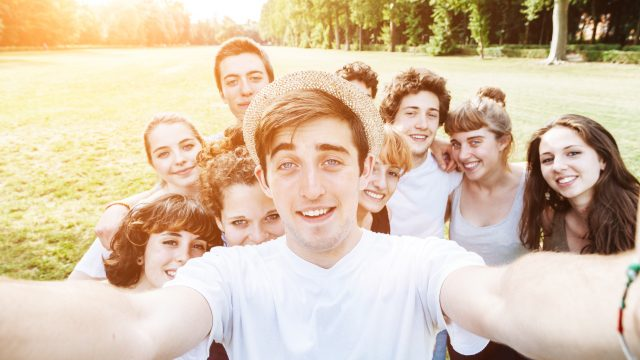 Friends Selfie In the Park