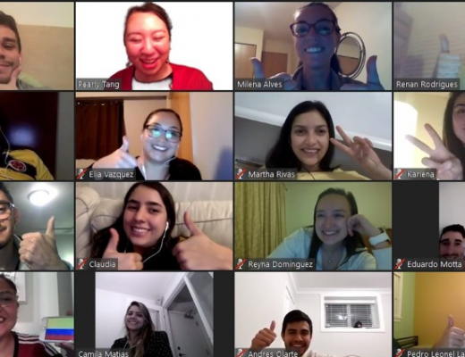 Group of people in a Zoom video call at ILSC and GC