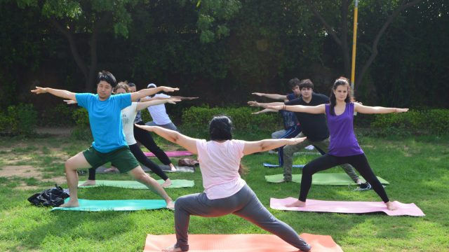 Group of 8 ILSC New Delhi Students practising Yoga with an instructor