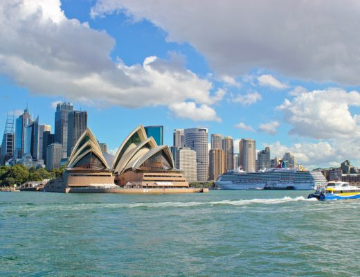 City skyline view of Sydney Australia with Opera House in background