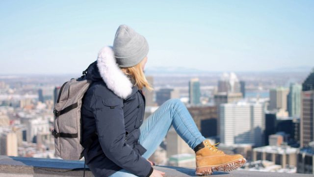 ILSC Montreal student wearing a toque and looking out over the city